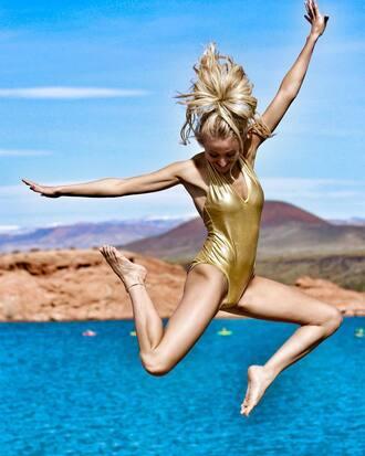 swimwear metallic swimsuit metallic one-piece one piece swimsuit metallic gold