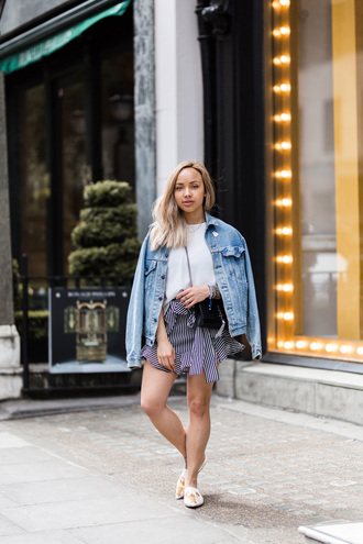 a style diary blogger top skirt shoes jacket bag denim jacket loafers white t-shirt summer outfits