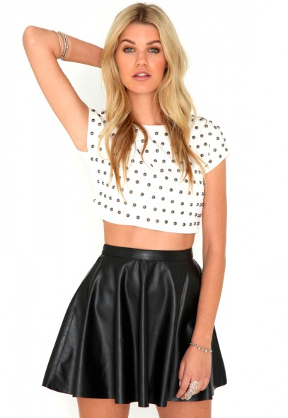Emilie Faux Leather Skater Skirt - skirts - missguided