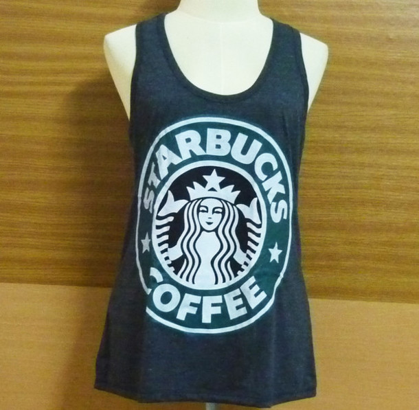 Tank top starbucks ebay ebay clothing coffee t shirt for How to get coffee out of shirt