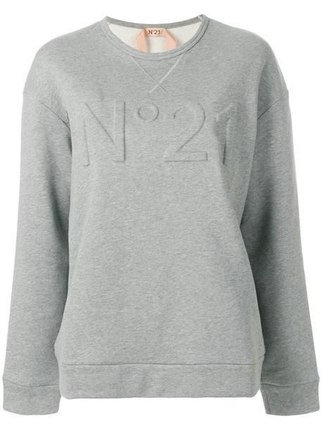 No21 - logo sweatshirt - women - Cotton - 36, Grey, Cotton