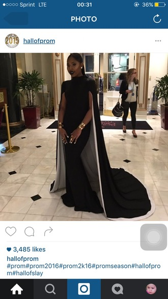 dress prom dress black dress cape sexy dress black and white black and white dress black long dresses long dress floor length dress cape sleeve dress black beautiful high neck prom gown cape dress gown prom