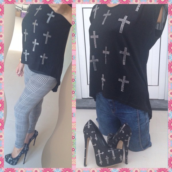 cross rhinestone top shoes shirt