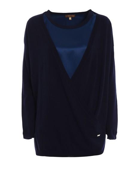 FAY sweater wool sweater silk wool navy blue