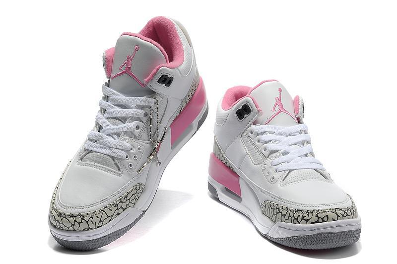 Women Air Jordans 3 White Cement/Grey-Pink