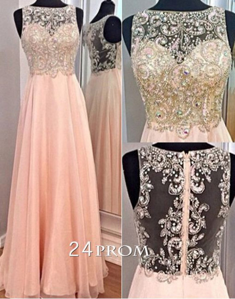 Line round neckline chiffon sequined long prom dresses, evening dresses