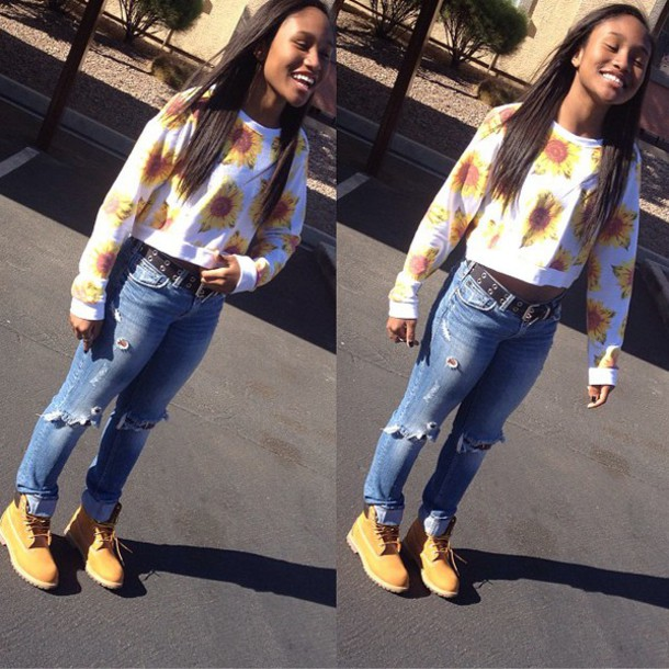 pants babe jeans timberlands timbs and crop top