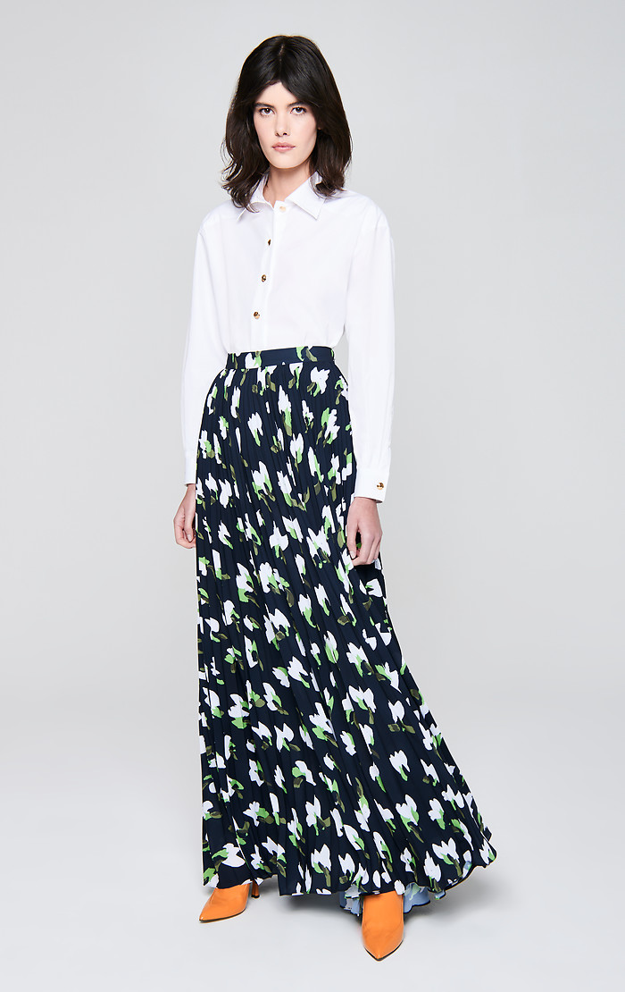 Floral Plissé Maxi Skirt