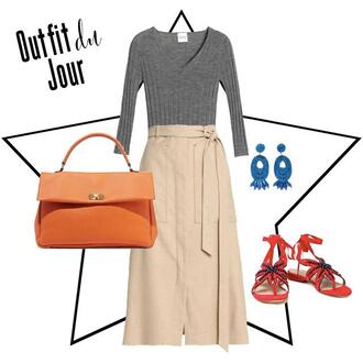 fashion foie gras blogger skirt bag jewels shoes spring outfits orange bag grey top khaki skirt sandals earrings