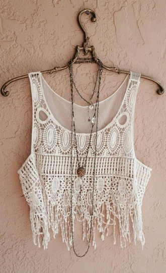 top crop tops blouse cover up boho fringe tank top tank top white lace shirt see through cute summer shirt