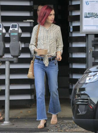 blouse shirt streetstyle lily collins jeans