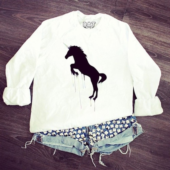 white long sleeves shirt horse unicorn white shirt long sleeve shorts