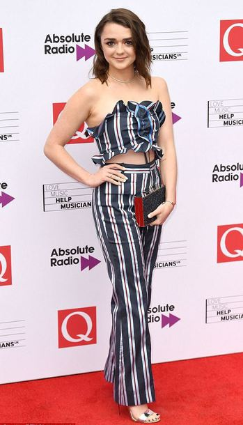 pants stripes striped pants maisie williams sandals strapless crop tops two-piece
