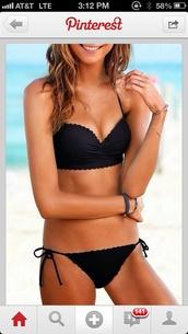 swimwear,black bikini,scalloped edges,scalloped bikini,tank top