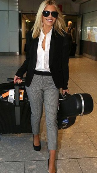 mollie king the saturdays grey check pants