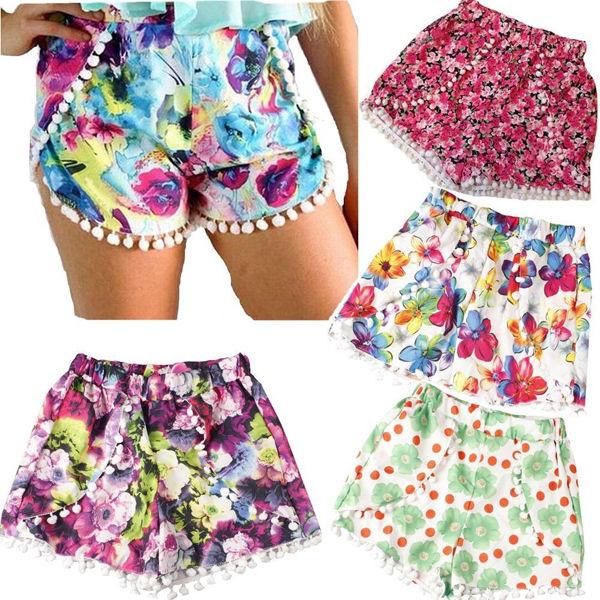 New pom pom high waisted tassel floral tribal print gym beach casual shorts pant