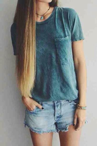 T Shirt Grunge Indie Alternative Rock Fashion Style Wear Dark Green Turquoise Blue