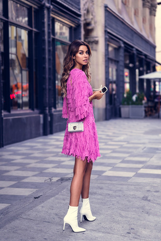 vivaluxury - fashion blog by annabelle fleur: nyfw mini moment blogger shoes bag dress fringed dress pink dress ankle boots white boots