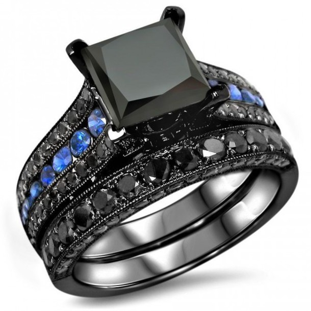 jewels evolees jewelry online rings store fashion rings women black ring black diamond engagement ring blue - Black And Blue Wedding Rings