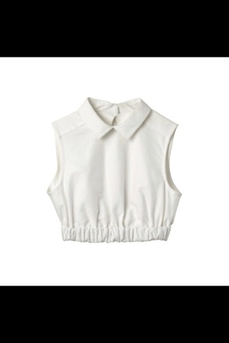 blouse buttonless sleeveless collared shirts collar white elastic elastic waist