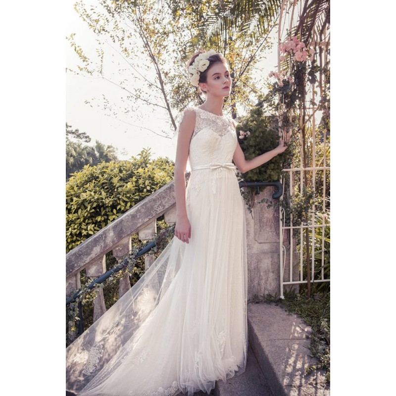 Snow by Annasul Y. 2017 sa3333b Open Back Chapel Train Bateau Ivory Sleeveless Column Lace Appliques Wedding Gown - Bridesmaid Dress Online Shop