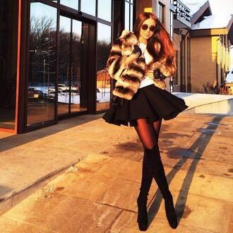 coat fuzzy coat furcoat black skirt