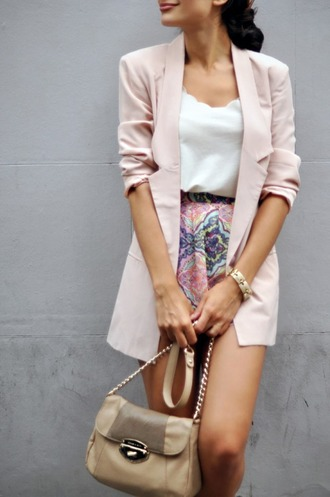 blouse jacket pick coat bangle skirt patterned skirt purse nude purse white blouse