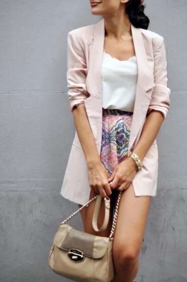 bangle blouse white blouse jacket pick coat skirt patterned skirt purse nude purse