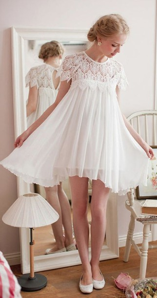 Short Hippie Wedding Dresses dress white lace short chiffon