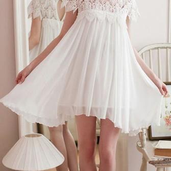 dress beach short white vintage lace hippie boho wedding casual gown ...