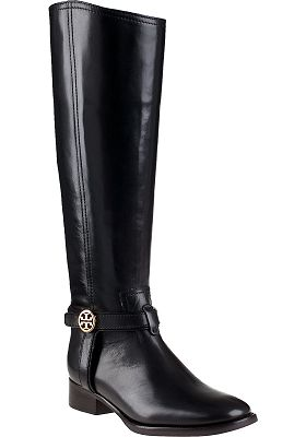 Tory Burch Bristol Riding Boot Black Leather - Jildor Shoes, Since 1949