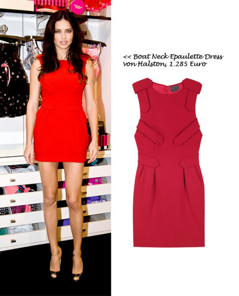 adriana lima beautiful red dress red red dress boatneck victoria's secret model model halston heritage
