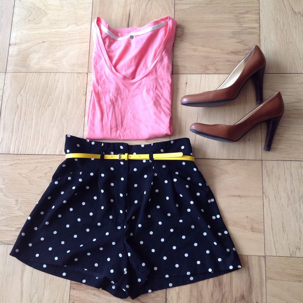 Forever 21 High Waisted Black White Polka Dot Shorts with Belt Pockets Size S | eBay