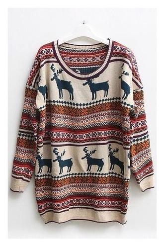 sweater rentier winter sweater vintage hipster muster aztec jacket multicolor hippie boho blouse
