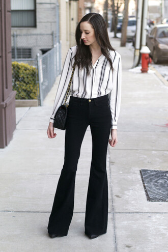 the glam files blogger wide-leg pants striped shirt
