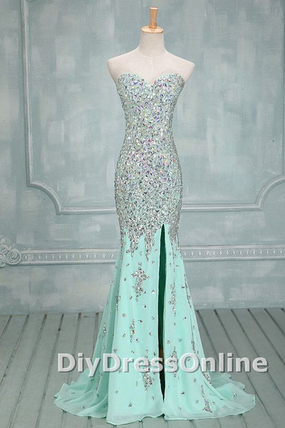 Sweetheart neck mint chiffon with beaded sparkly mermaid prom dresses long formal dresses apd1448 · diydressonline · online store powered by storenvy