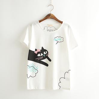 t-shirt cats top white clouds kawaii bow cute fashion summer style cute outfits teenagers