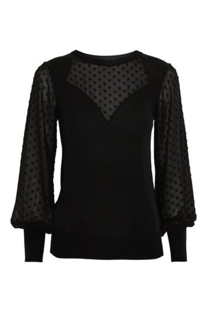 Topshop jumper chiffon black sweater