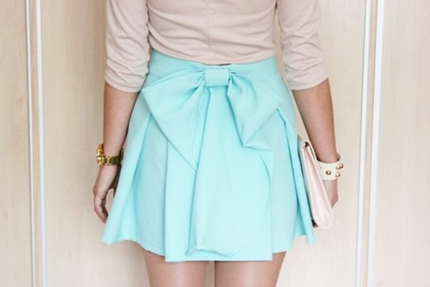 skirt bow ribbon pastel mint chiffon light blue mini skirt. 473111084ad
