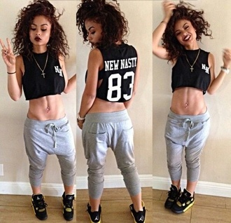grey sweatpants style fashion jordan shoes black hipster shirt grey necklace cross necklace