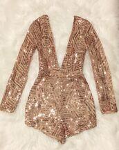 romper,sparkle,gold sequins,jumpsuit,long sleeves,shorts