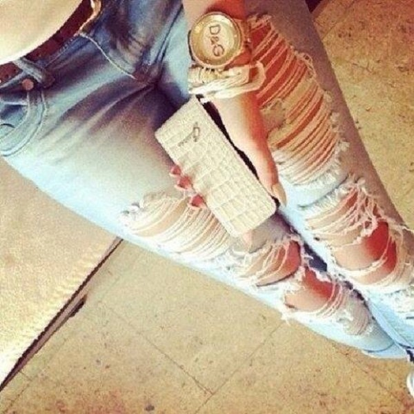 jeans ripped jeans jewels