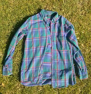 90s flannel styled green blue red yellow white long sleeved shirt grunge indie