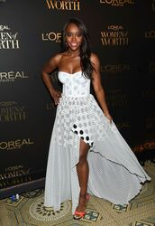 dress,polka dots,polka dots dress,Aja Naomi King,celebrity,strapless