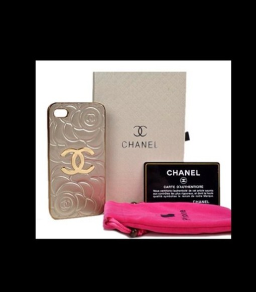 rose cute fashion style jewels gold chanel iphone case