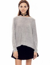 fall sweater,grey fuzzy sweater,fall trends,fall outfits,cute sweaters,trendy sweaters,fuzzy sweater,grey sweater,casual sweater,normcore,knitted sweater,knit sweaters,comfy sweater,transitional pieces,back to school,affordable fashion,pre fall,pixie market,pixie market girl