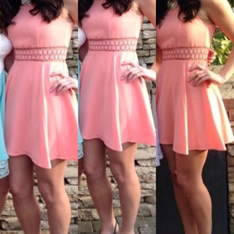 dress skater dress casual fancy coral