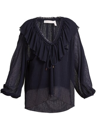 blouse ruffle navy top