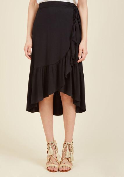 SL70178 skirt wrap skirt high soft black knit