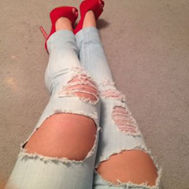 Jeans: faded jeans, ripped jeans, ripped up jeans, light blue ...